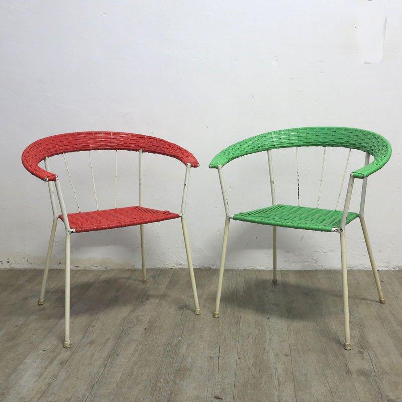 chaises de jardin vintage en rouge et en vert allemagne set de 2 en vente sur pamono. Black Bedroom Furniture Sets. Home Design Ideas