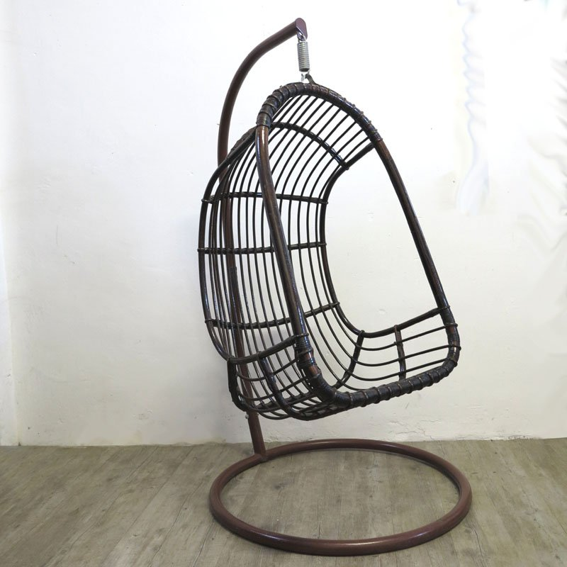 vintage rattan bamboo hanging egg chair for sale at pamono. Black Bedroom Furniture Sets. Home Design Ideas