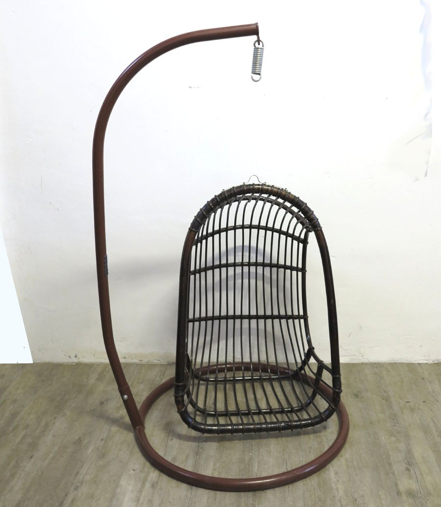 Retro Hanging Chair Vintage Rattan & Bamboo Hanging Egg Chair For Sale At Pamono