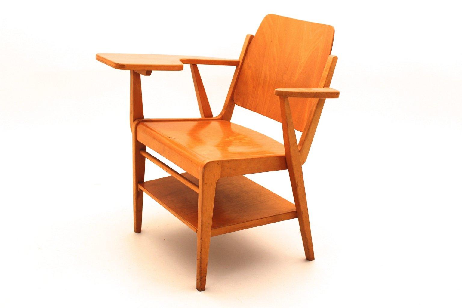 fauteuil autrichien vintage avec tablette critoire par. Black Bedroom Furniture Sets. Home Design Ideas