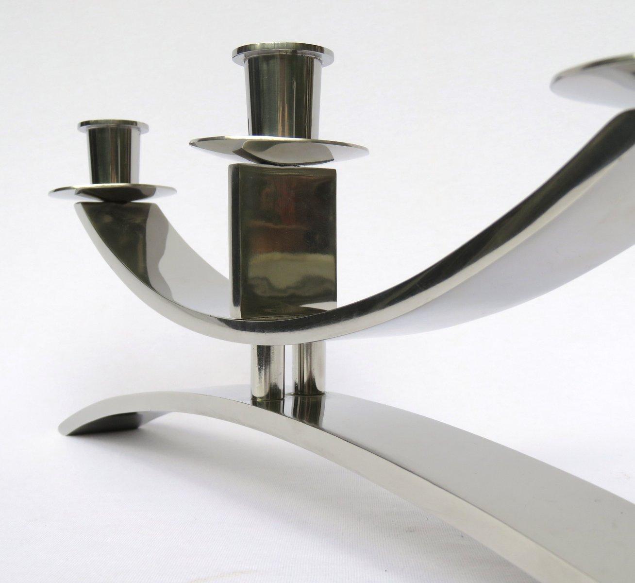 verchromter vintage art deco kerzenhalter bei pamono kaufen. Black Bedroom Furniture Sets. Home Design Ideas