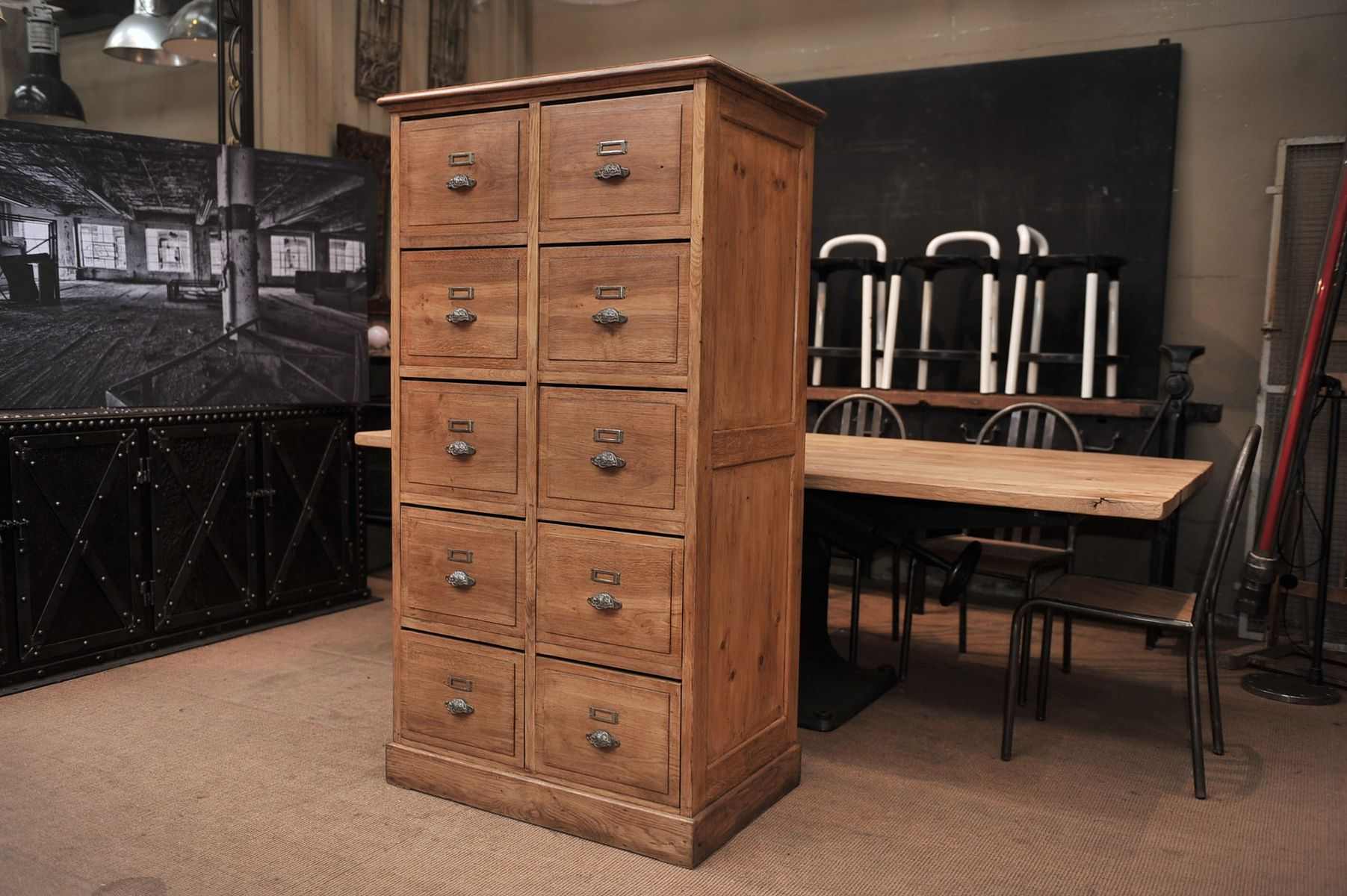 Oak and pine french drawer cabinet 1900s for sale at pamono for Kitchen drawers for sale