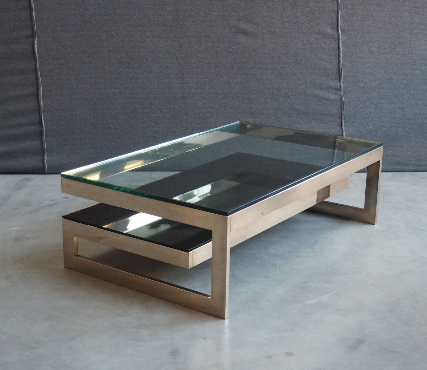 Gold Plated And Glass Top Coffee Table By Belgochrom 1970s For Sale At Pamono