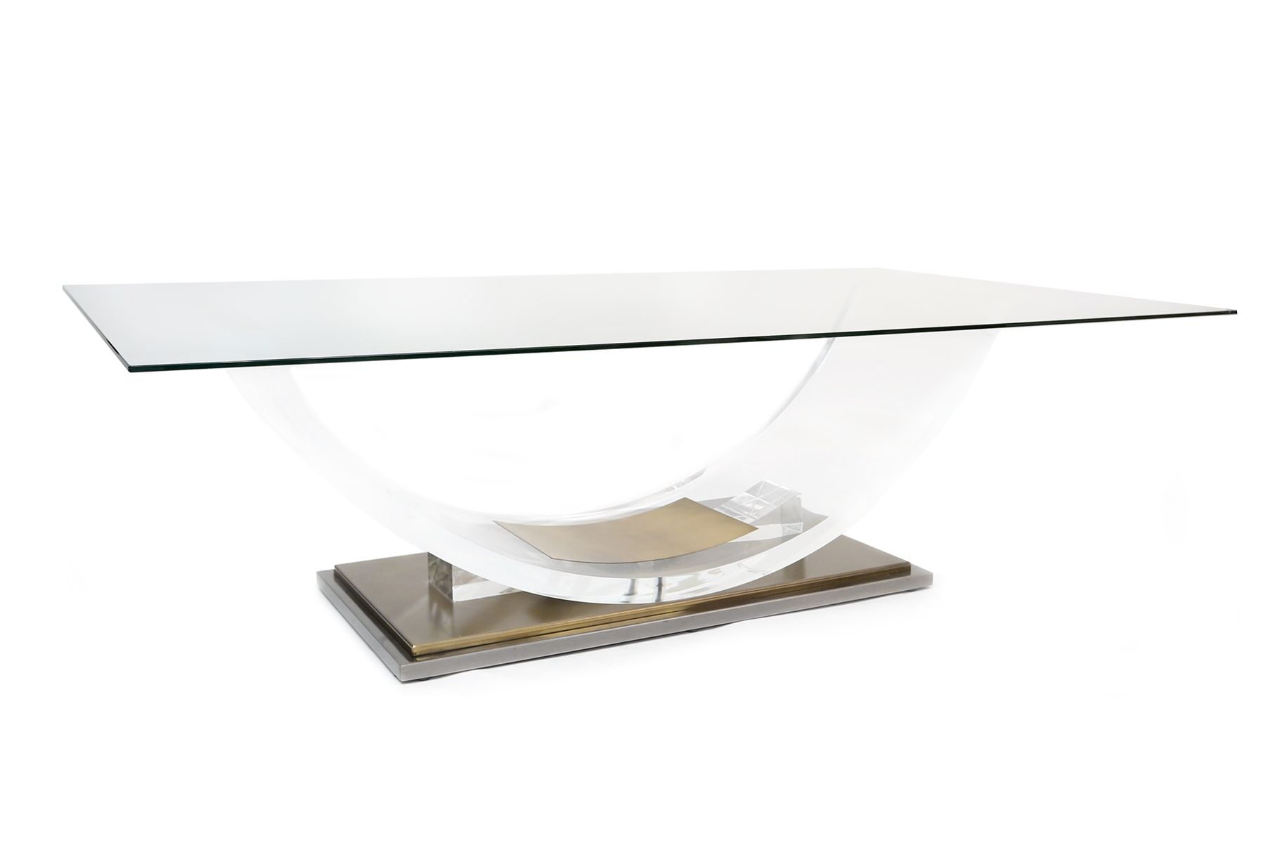 Vintage lucite coffee table vintage arched lucite coffee table by hollis jones for belgo chrome geotapseo Choice Image