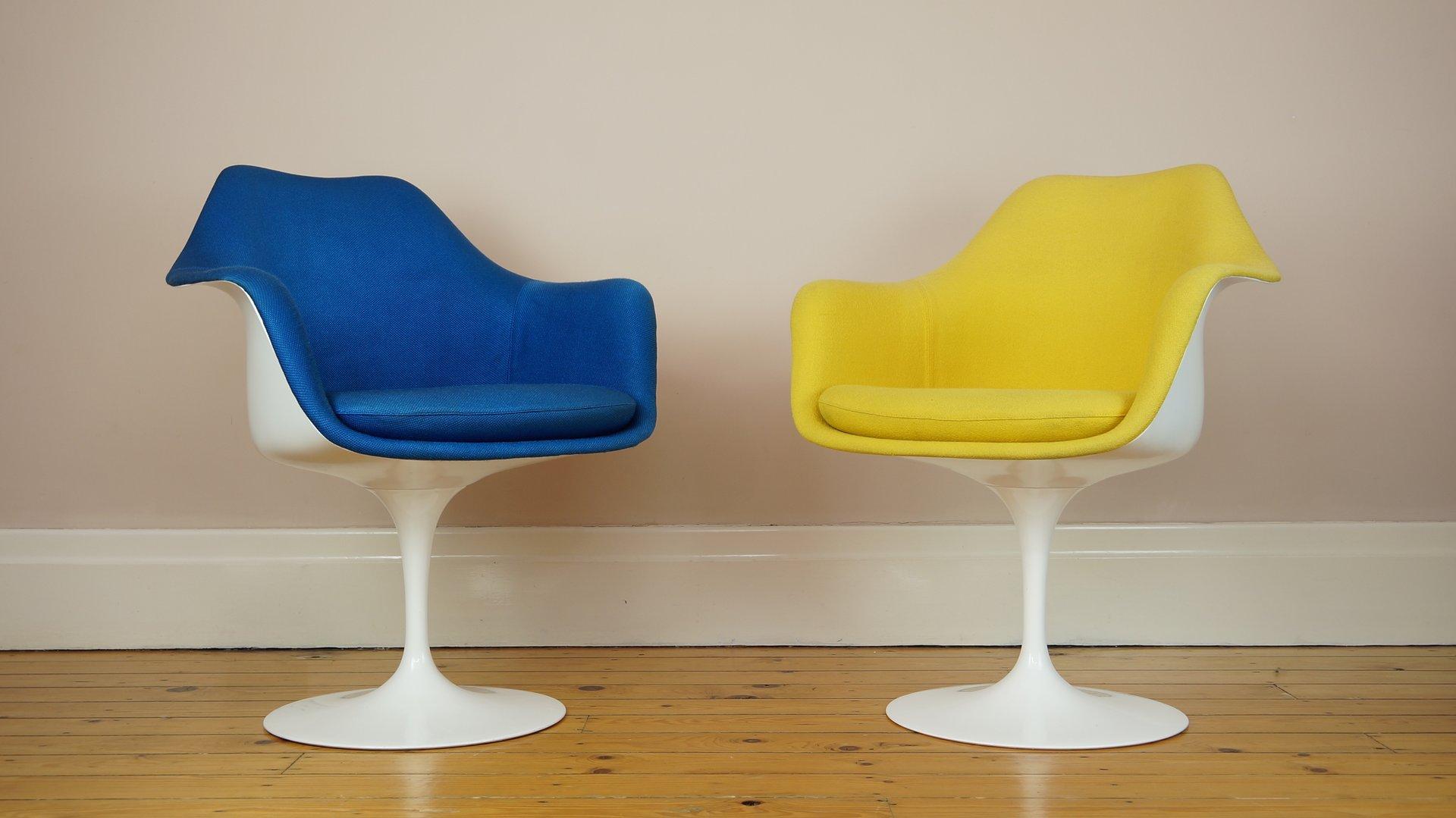 blauer tulip stuhl von eero saarinen f r knoll bei pamono kaufen. Black Bedroom Furniture Sets. Home Design Ideas