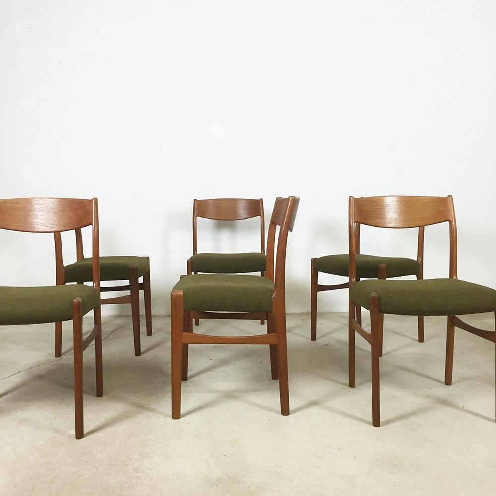 Danish teak dining chairs from g s glyngore stolefabrik for Made dining chairs
