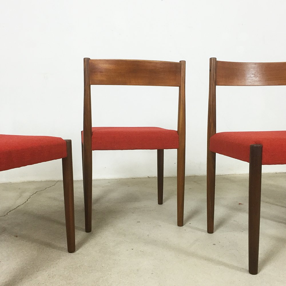 walnut dining chairs by poul volther for frem rojle set of  for  - walnut dining chairs by poul volther for frem rojle set of