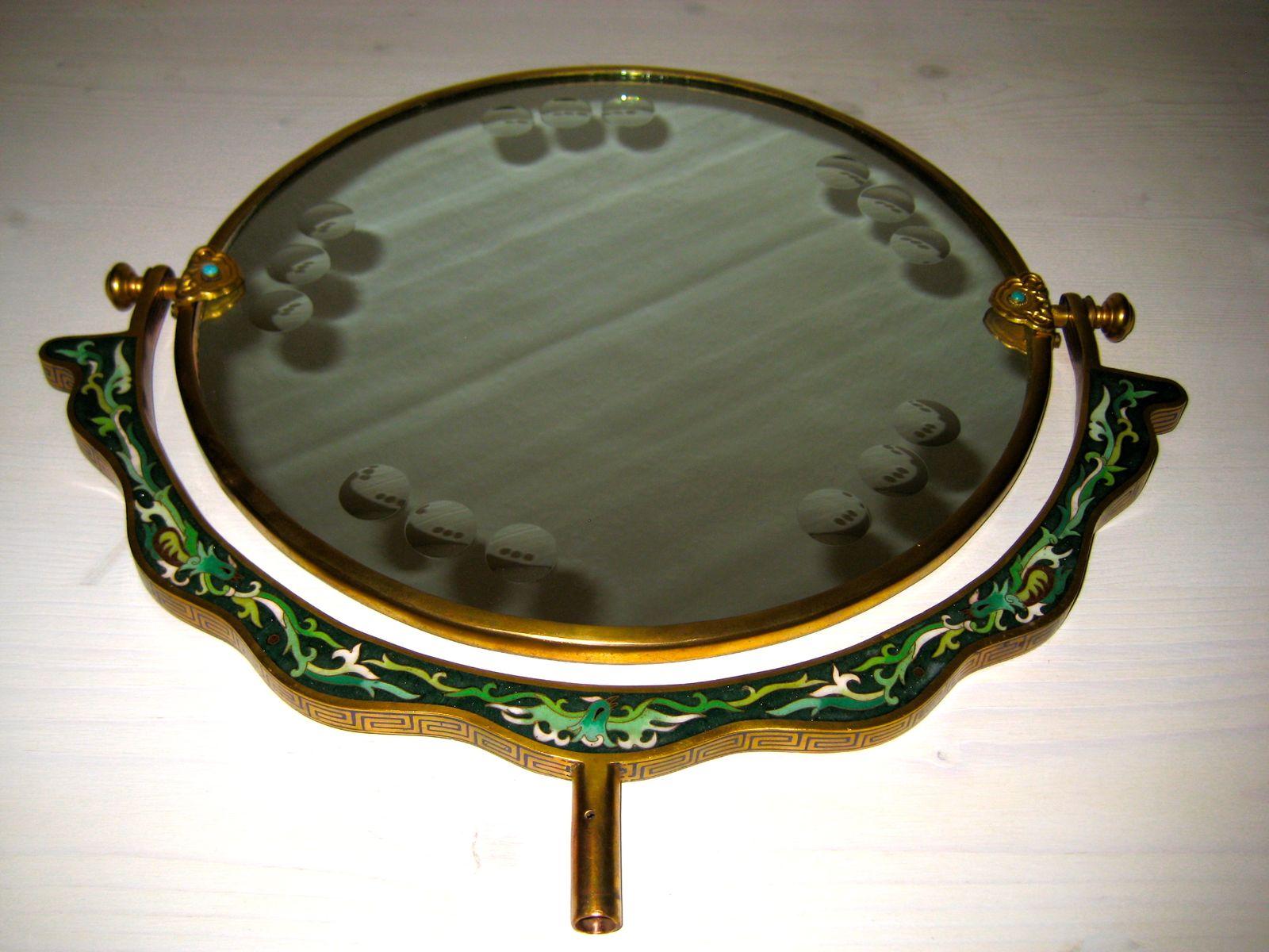 Miroir de table vintage avec dessin d 39 oiseau italie en for Miroir table