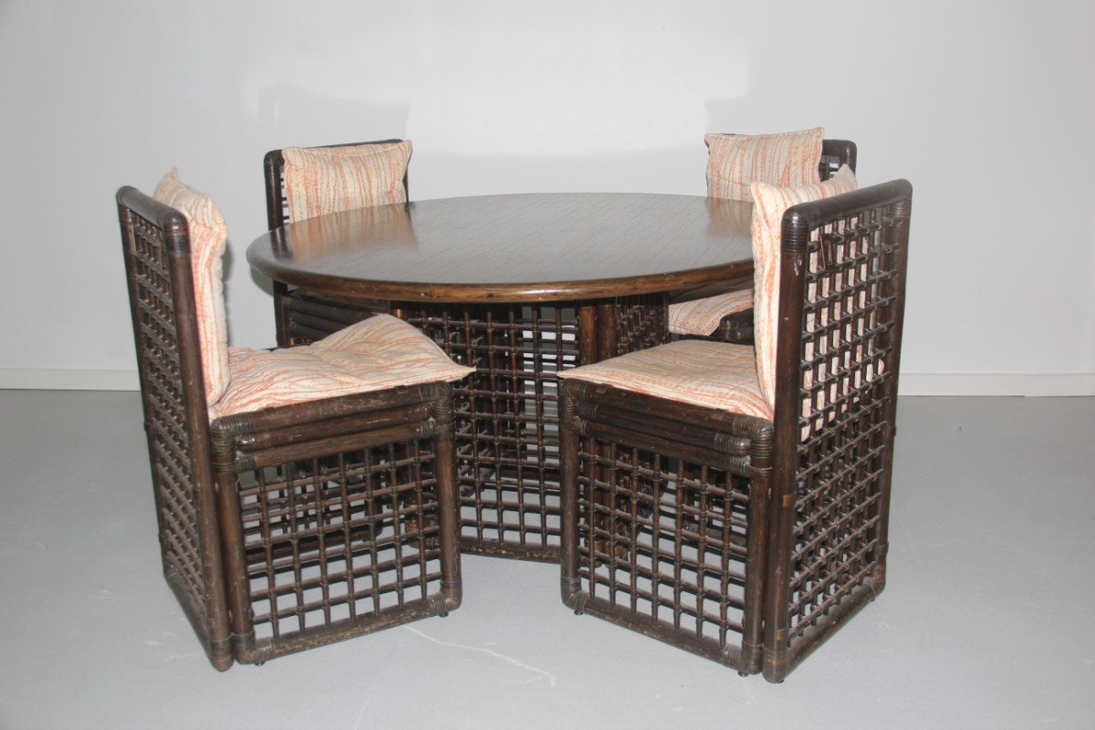 Great Rattan Dining Room Set By Tobia U0026 Afra Scarpa For Bu0026B Italia, 1970s, Set Of  5