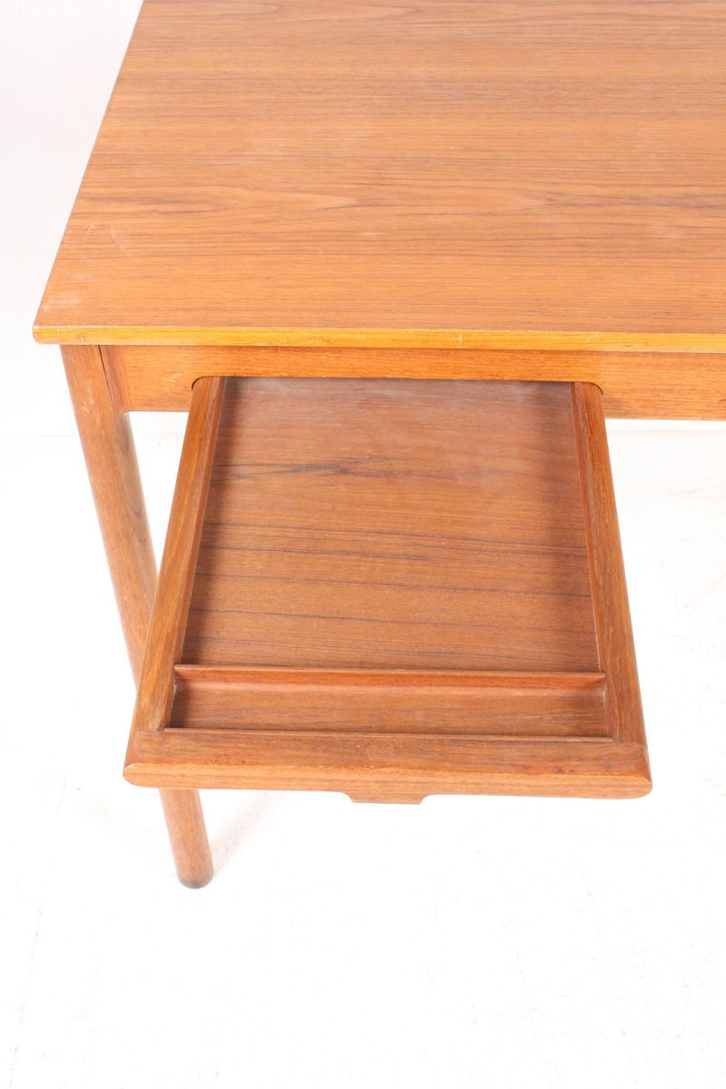 Minimalist Danish Teak Desk With Rosewood Feet For Sale At