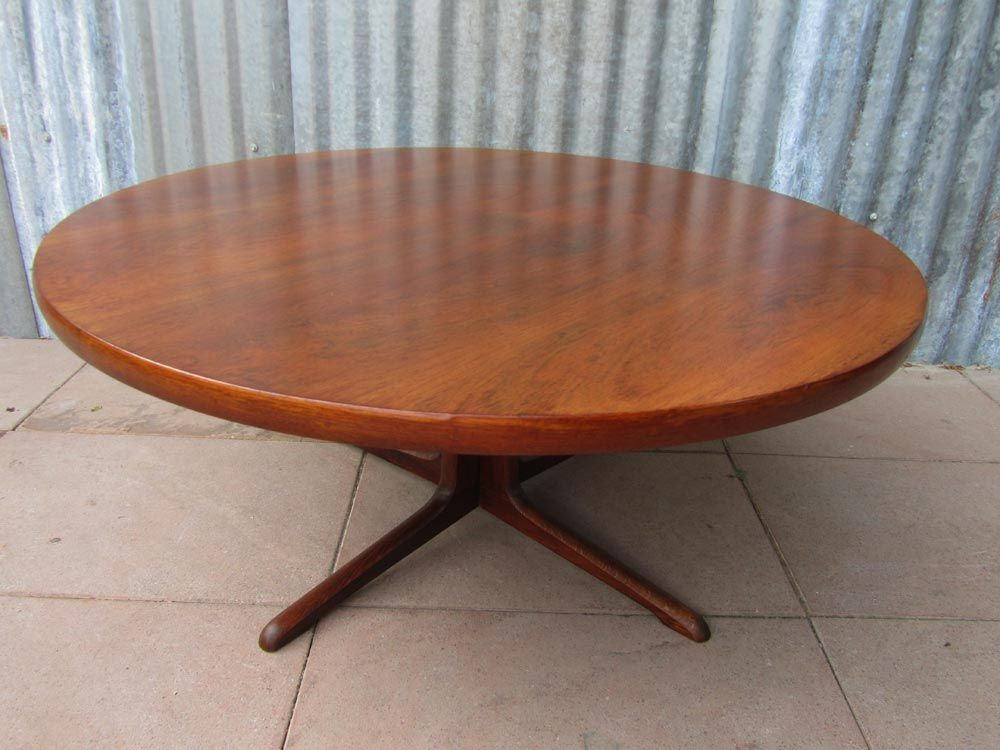 Mid Century Scandinavian Round Teak Coffee Table For Sale At Pamono