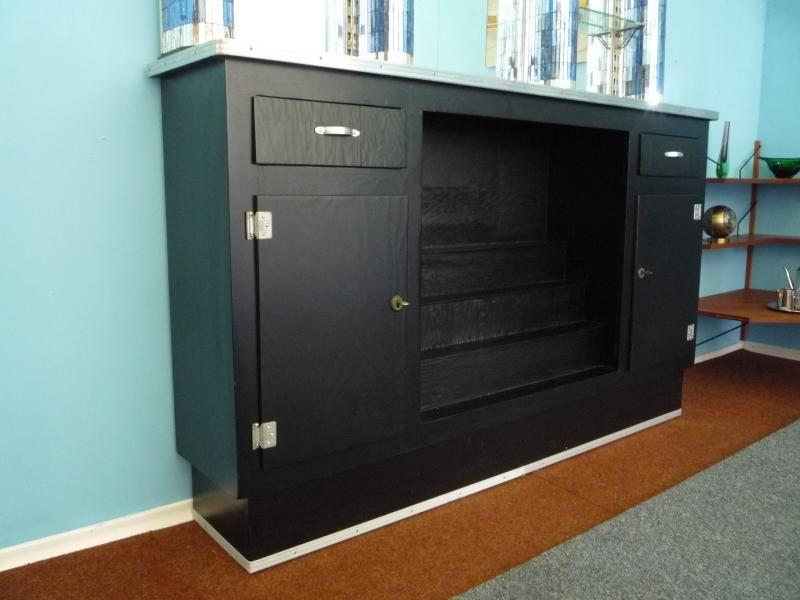 meuble bar art d co vernis en miroir etats unis en vente sur pamono. Black Bedroom Furniture Sets. Home Design Ideas
