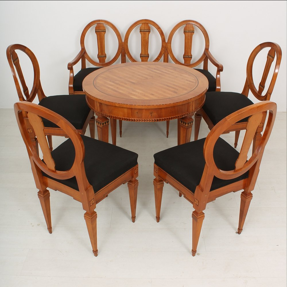Louis xvi cherry dining table bench and chairs 1790s for Cherry dining table