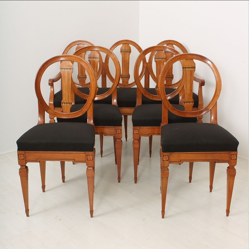 Louis XVI Cherry Dining Table Bench And Chairs 1790s Set Of 6 For