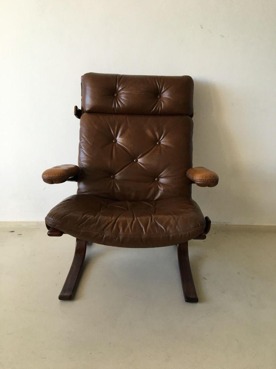 Brauner mid century leder lounge stuhl 1960er bei pamono for Brauner stuhl