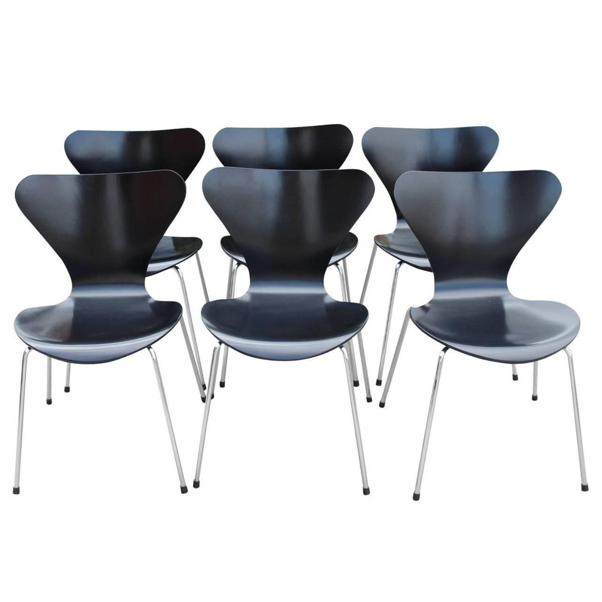 model 3107 dining chair by arne jacobsen for fritz hansen 1960s set of 6 for sale at pamono. Black Bedroom Furniture Sets. Home Design Ideas