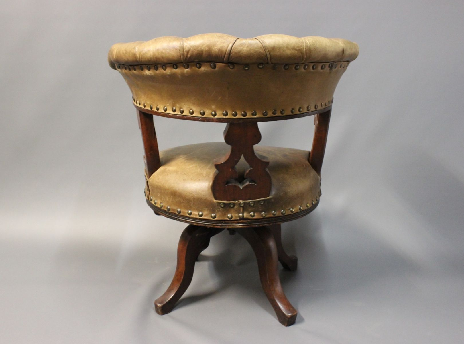 Mahogany & Leather fice Chair 1880s for sale at Pamono
