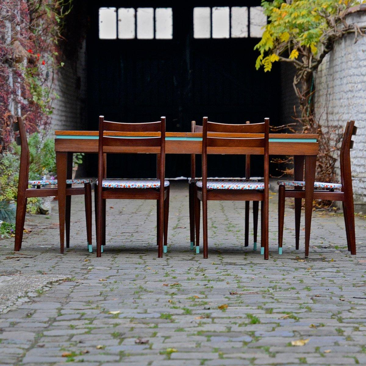 esstisch mit sechs st hlen bei pamono kaufen. Black Bedroom Furniture Sets. Home Design Ideas