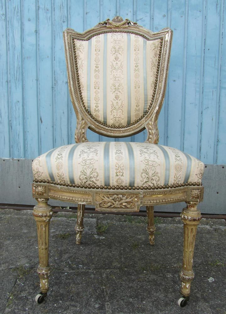 Antique Wooden Louis XVI Style Chair 1830s