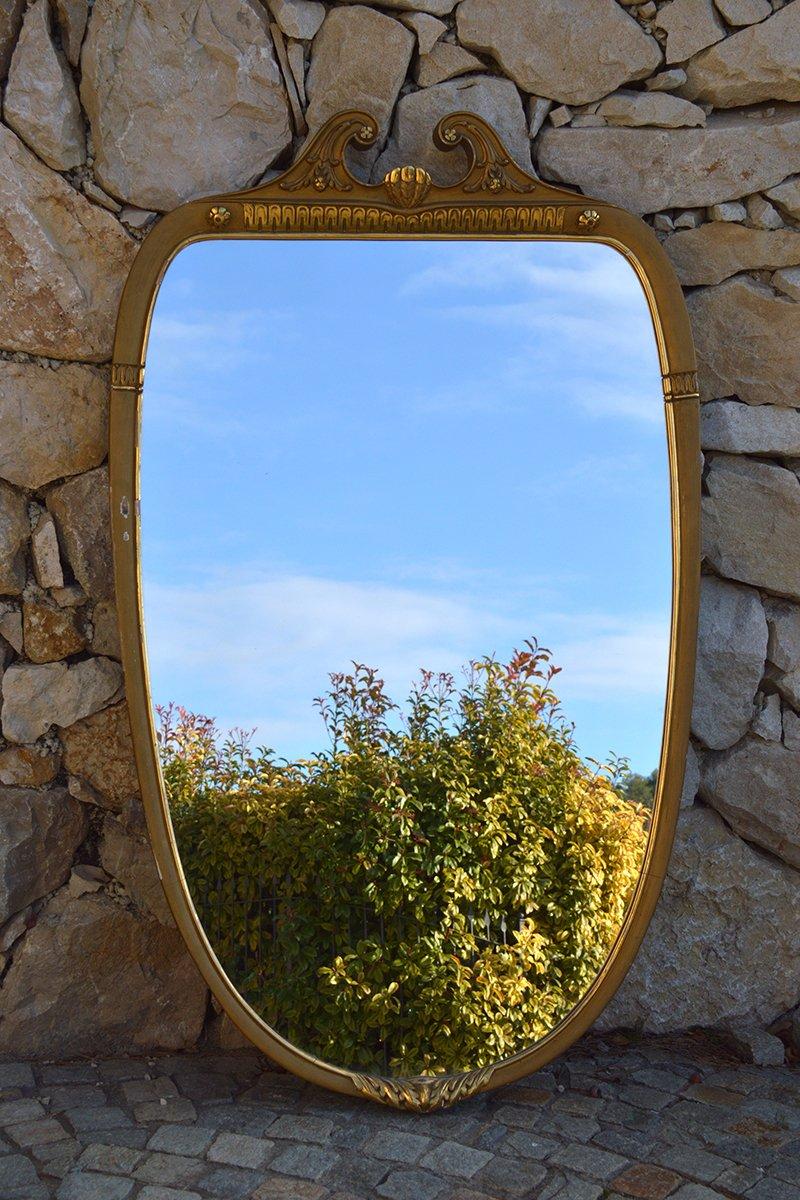 italienischer vintage spiegel mit holzrahmen bei pamono kaufen. Black Bedroom Furniture Sets. Home Design Ideas