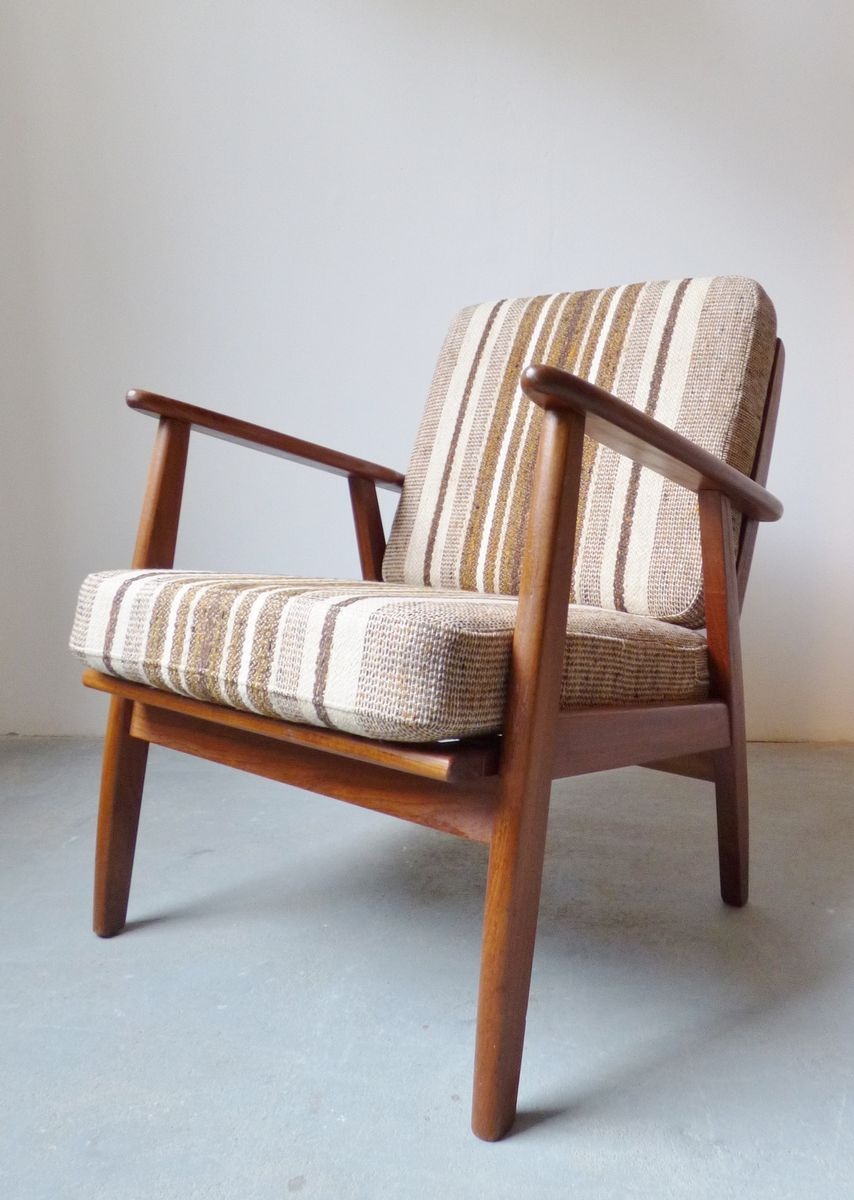 Danish Teak Lounge Chair With Striped Wool Cushions For Sale At Pamono