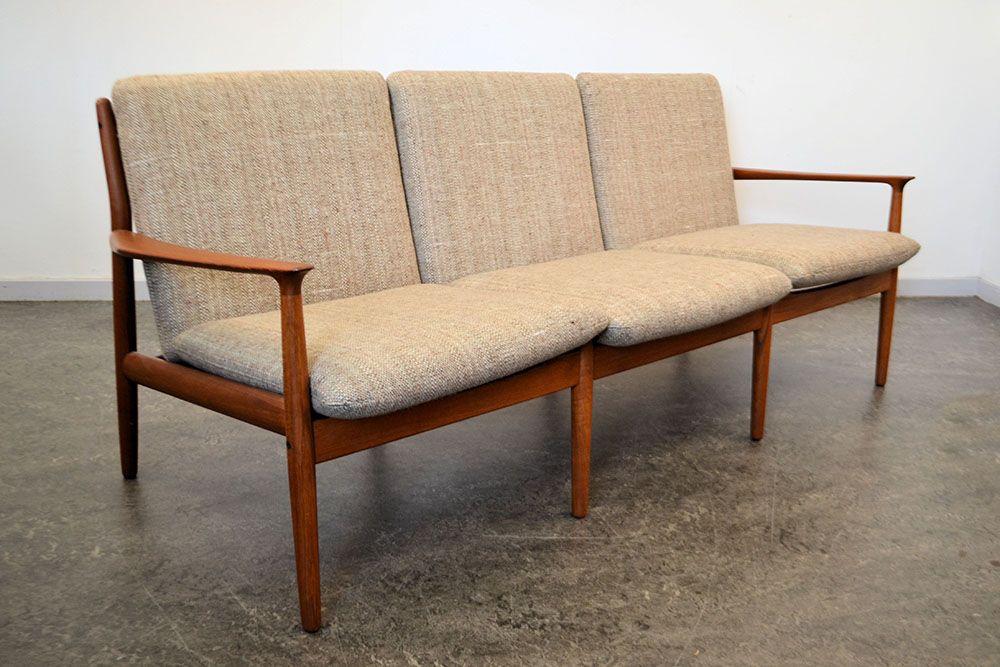 d nisches 3 sitzer sofa aus teakholz von grete jalk f r glostrup bei pamono kaufen. Black Bedroom Furniture Sets. Home Design Ideas