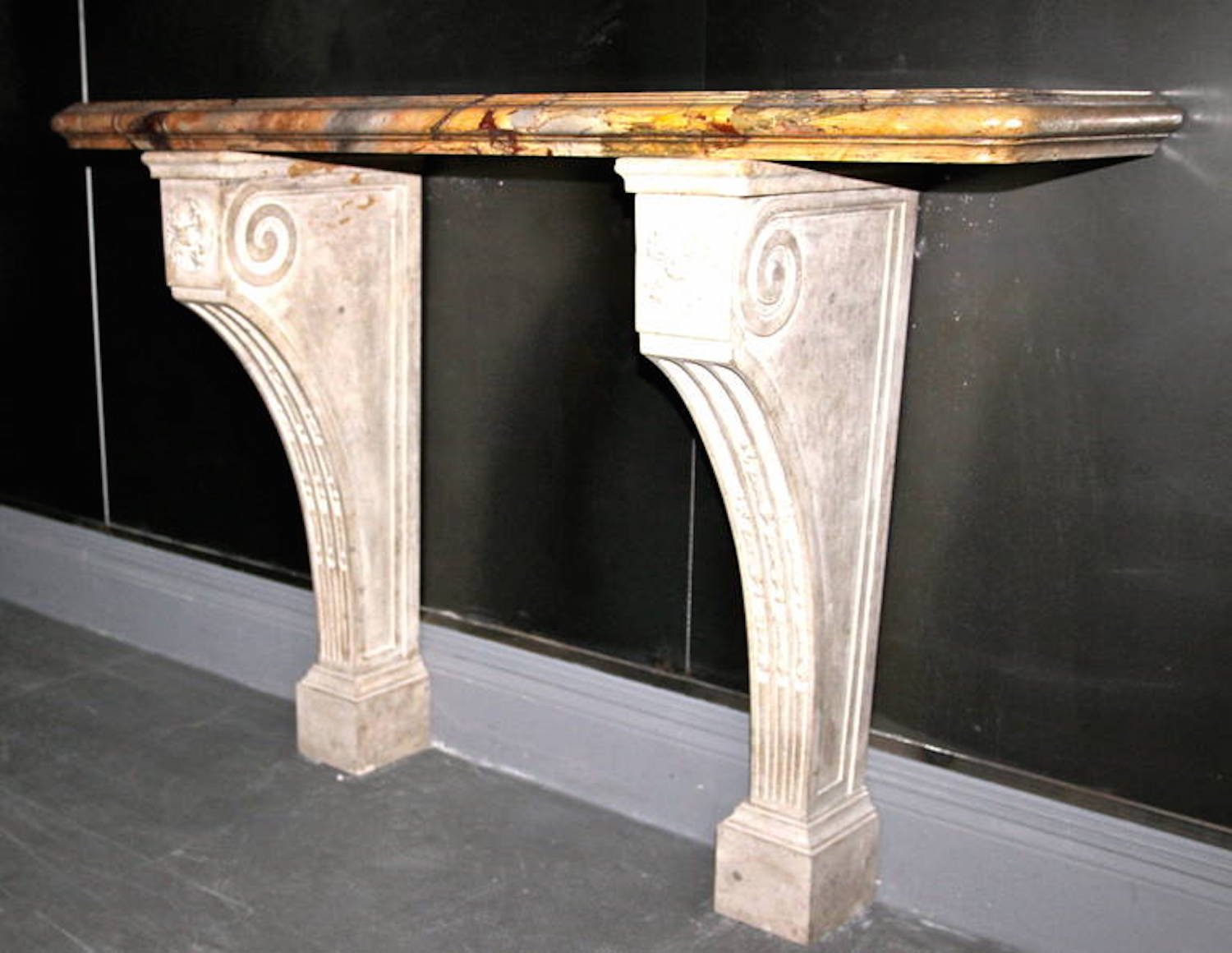 antique sarrancolin marble console table set of 2 for. Black Bedroom Furniture Sets. Home Design Ideas