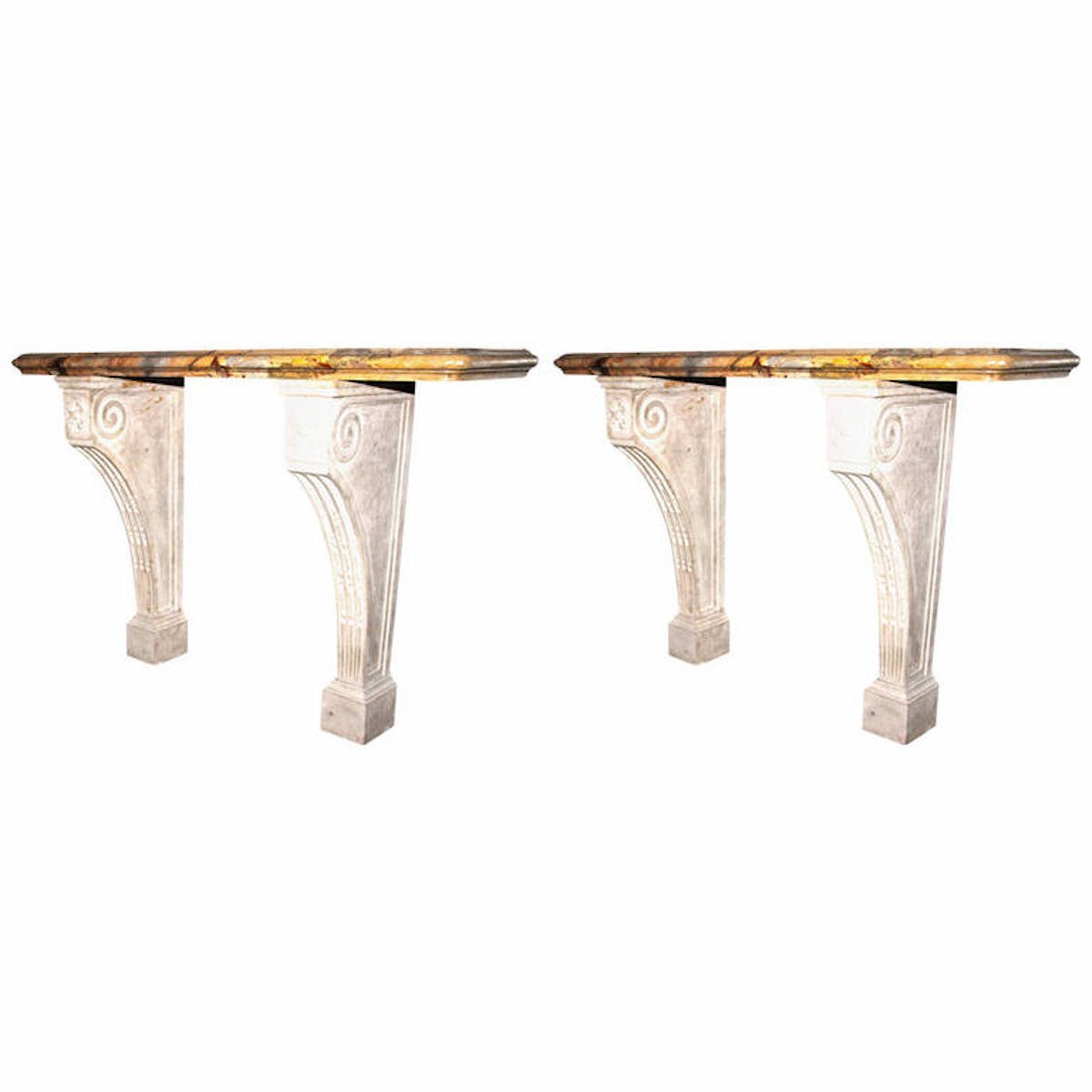 Table console antique en marbre sarrancolin set de 2 en for Table en marbre