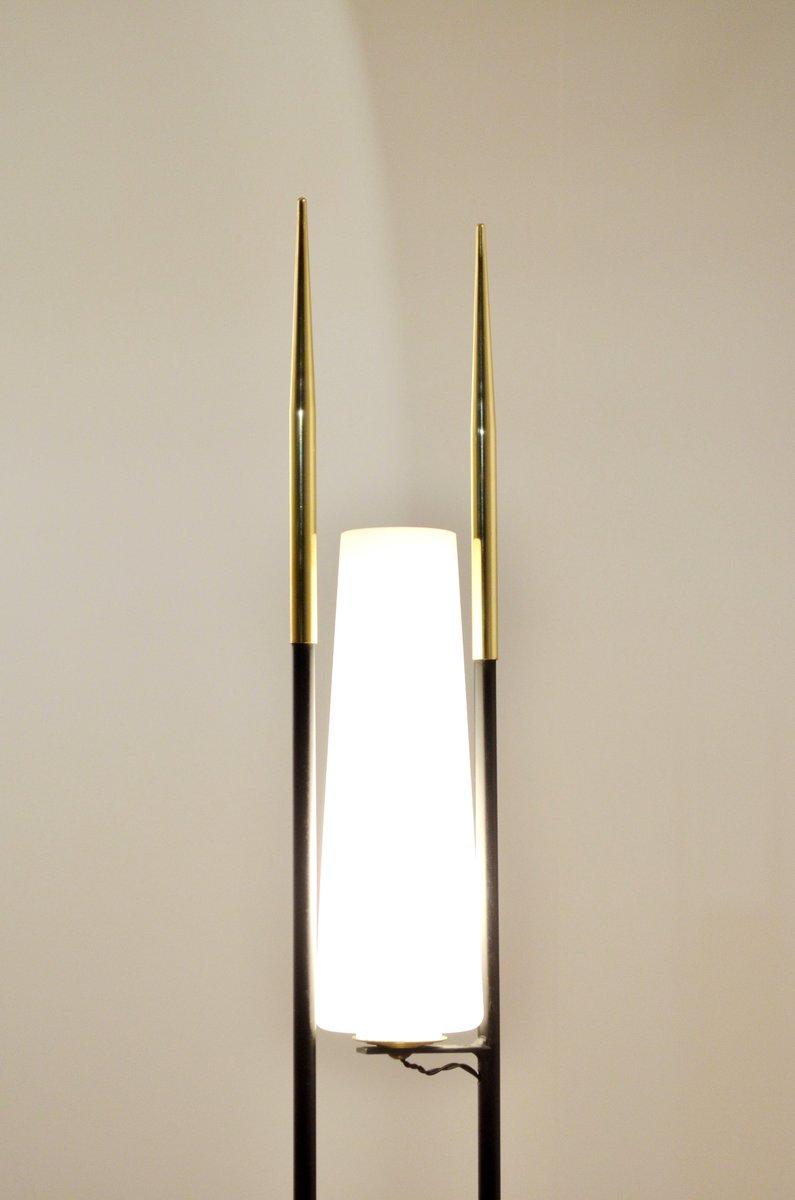 franz sische schwarze mid century stehlampe aus metall messing bei pamono kaufen. Black Bedroom Furniture Sets. Home Design Ideas