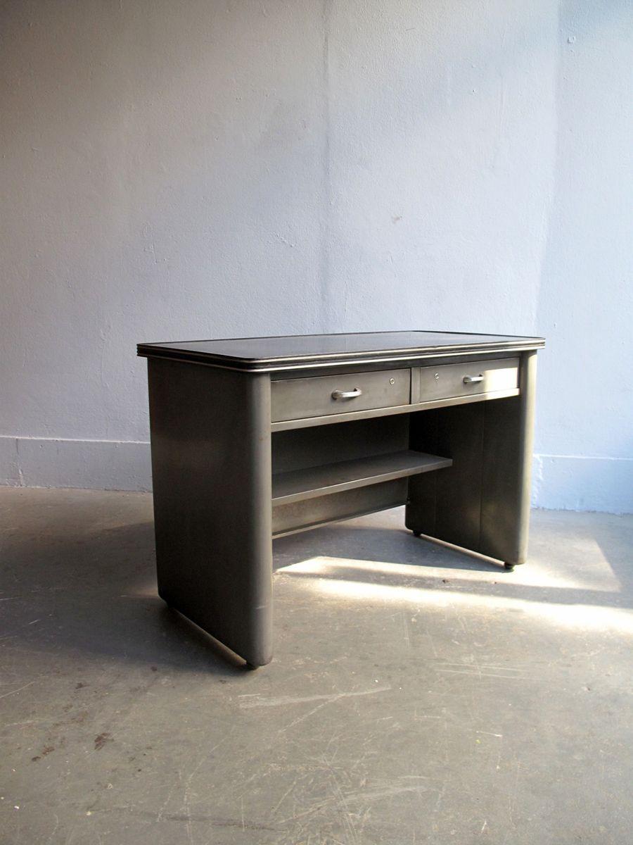 kleiner aluminium schreibtisch mit zwei schubladen bei pamono kaufen. Black Bedroom Furniture Sets. Home Design Ideas