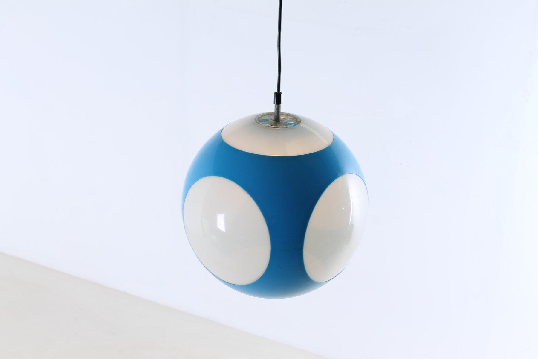blue german globe pendant lamp by luigi colani