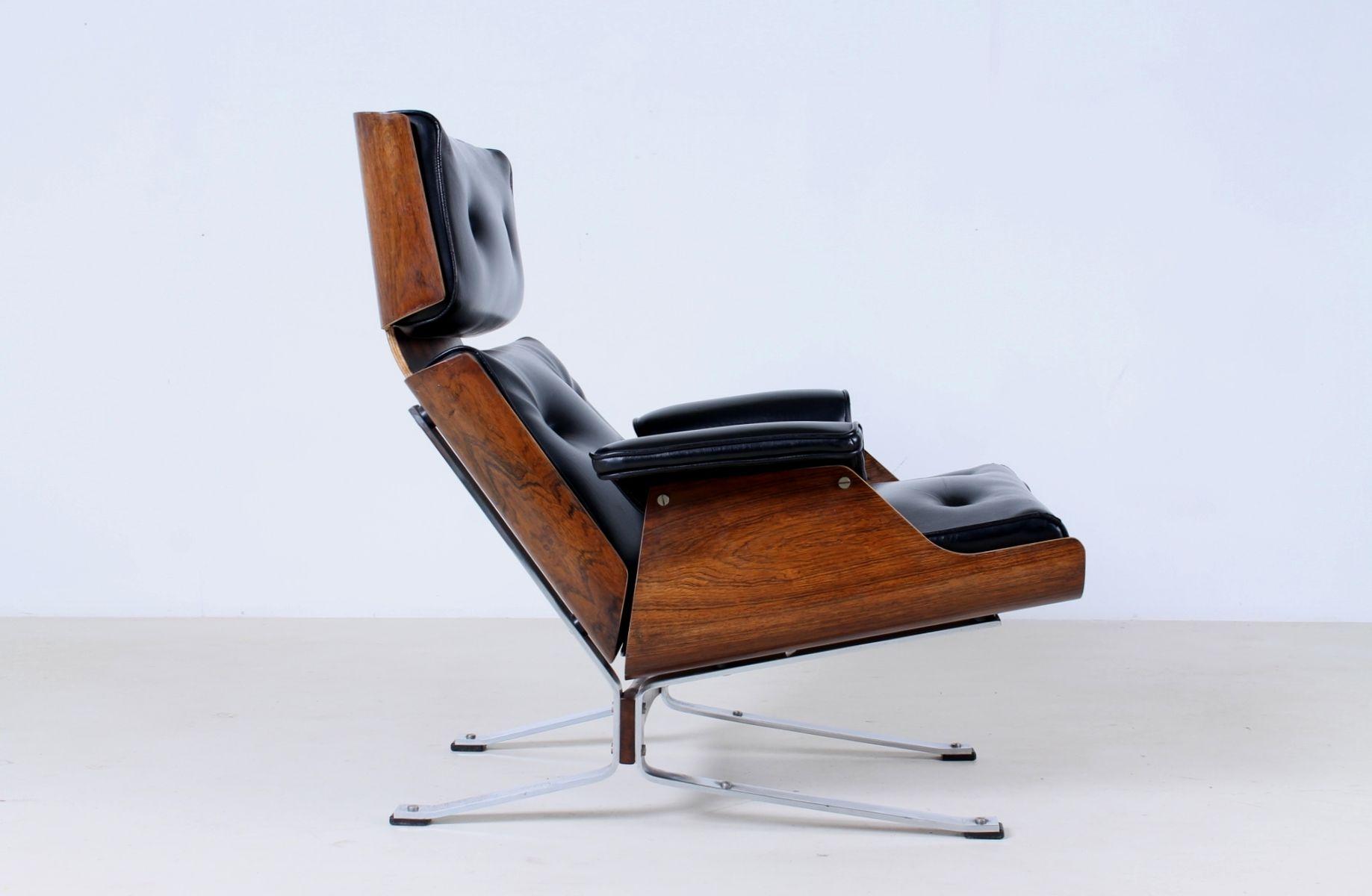 fauteuil en ska noir et palissandre 1960s en vente sur pamono. Black Bedroom Furniture Sets. Home Design Ideas