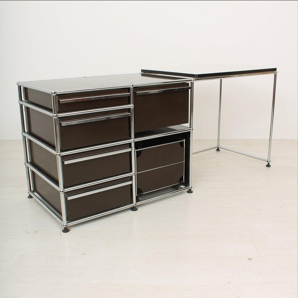 metal desk from usm haller for sale at pamono. Black Bedroom Furniture Sets. Home Design Ideas