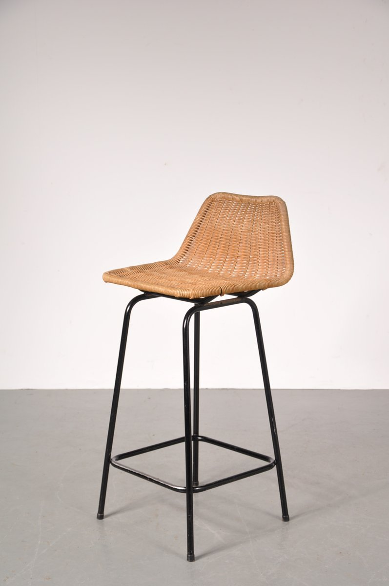 vintage barhocker mit korbgeflecht sitzen von dirk van. Black Bedroom Furniture Sets. Home Design Ideas