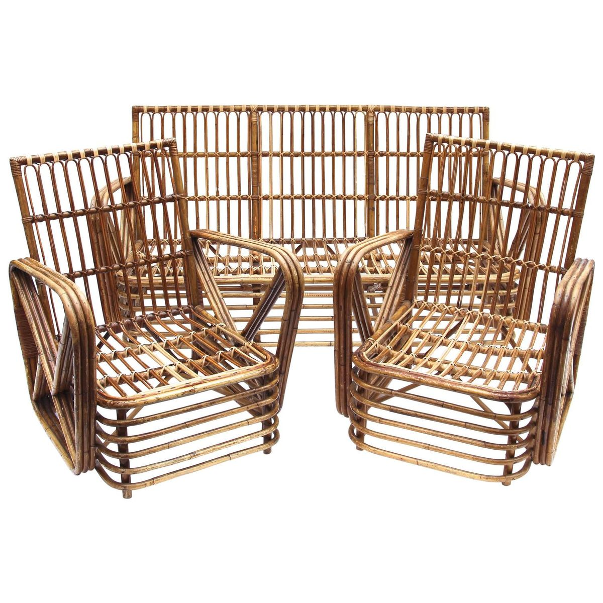 italian bamboo living room set from dal vera 1970s for sale at pamono. Black Bedroom Furniture Sets. Home Design Ideas
