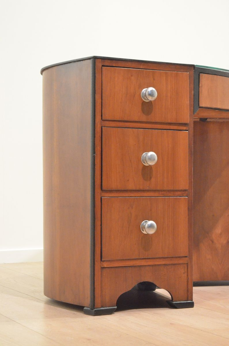 englischer art deco nussholz schreibtisch bei pamono kaufen. Black Bedroom Furniture Sets. Home Design Ideas
