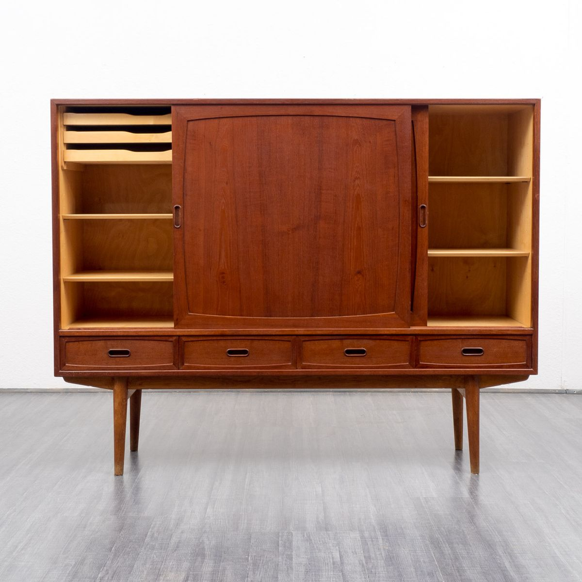 skandinavisches mid century teakholz sideboard 1960er bei. Black Bedroom Furniture Sets. Home Design Ideas