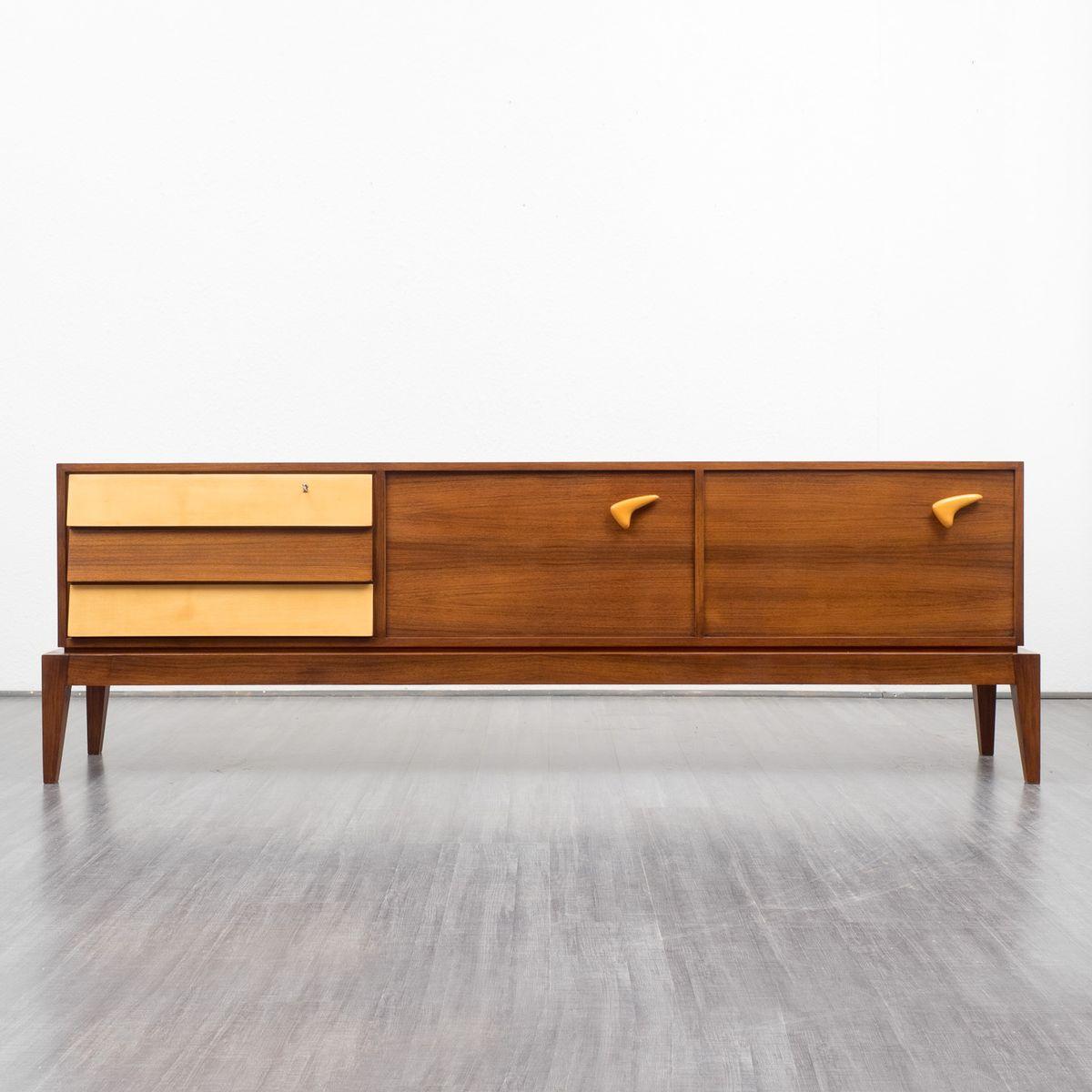 Birch Veneer Buffet ~ Vintage bicolored teak and birch veneer sideboard for sale