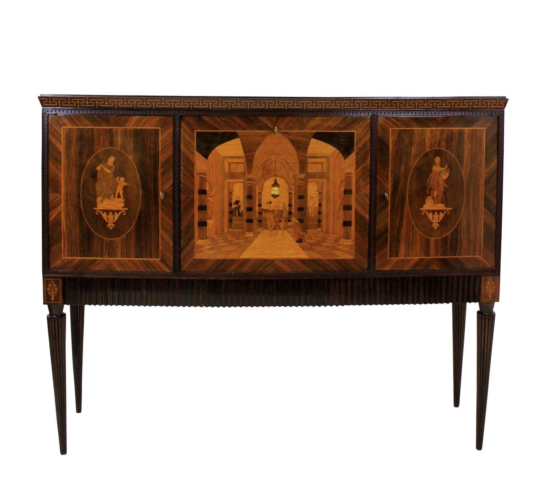 italienischer vintage barschrank mit einlegearbeiten bei. Black Bedroom Furniture Sets. Home Design Ideas