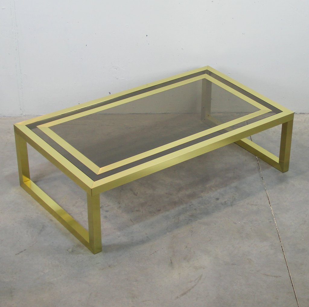 Spanish Brass And Smoked Glass Rectangular Coffee Table