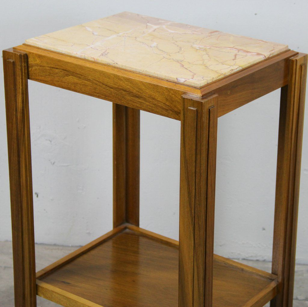 franz sischer art deco beistelltisch aus nussholz marmor. Black Bedroom Furniture Sets. Home Design Ideas