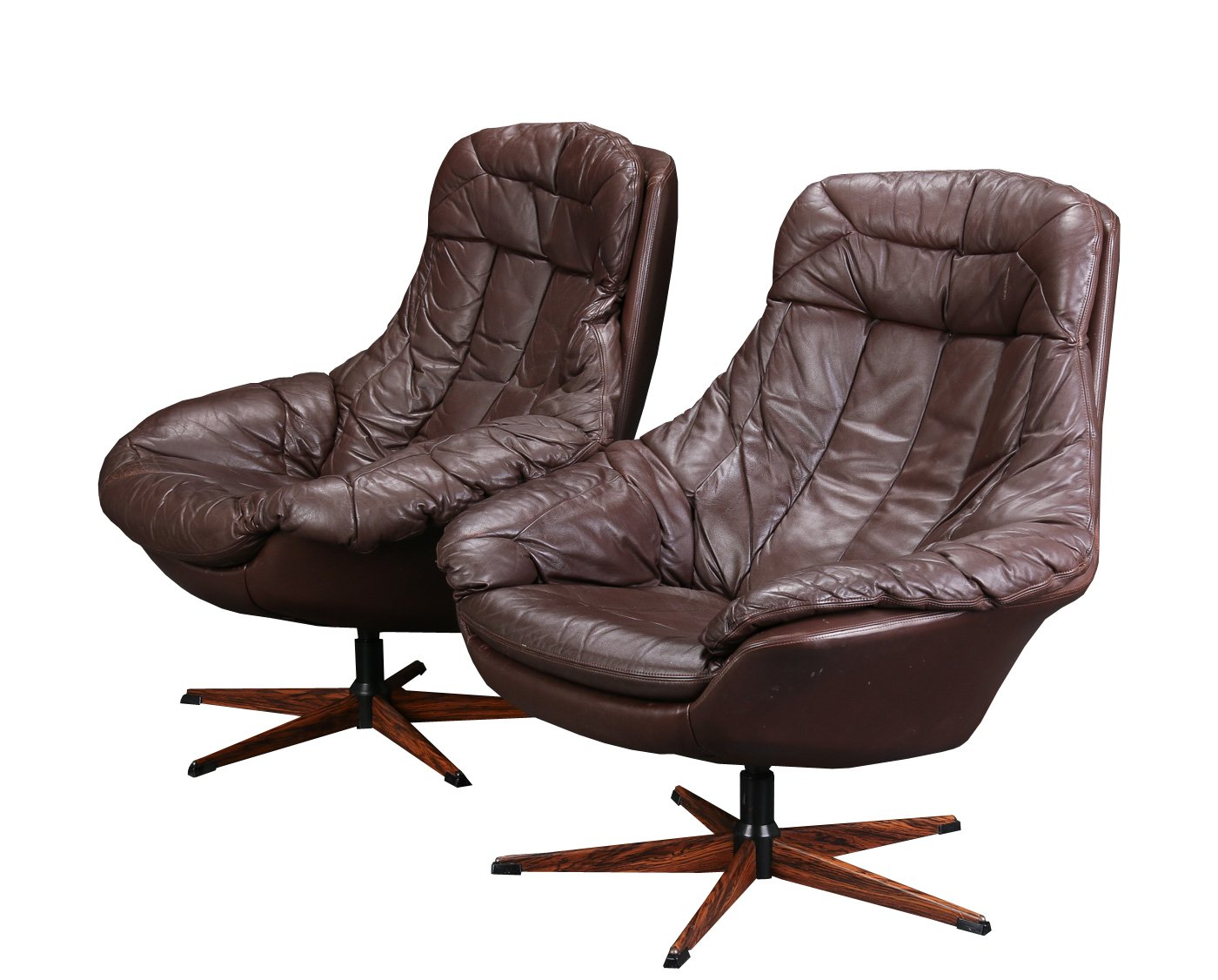 Brown Leather Swivel Chair By H W Klein For Bramin For