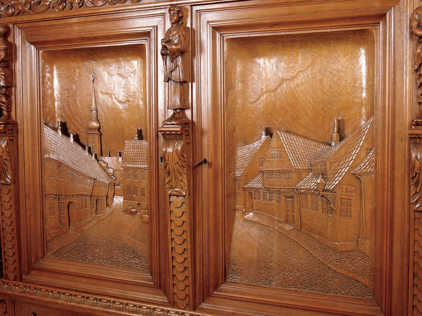 Large oak cabinet with hand carved doors from e b gh - Oversized exterior doors for sale ...