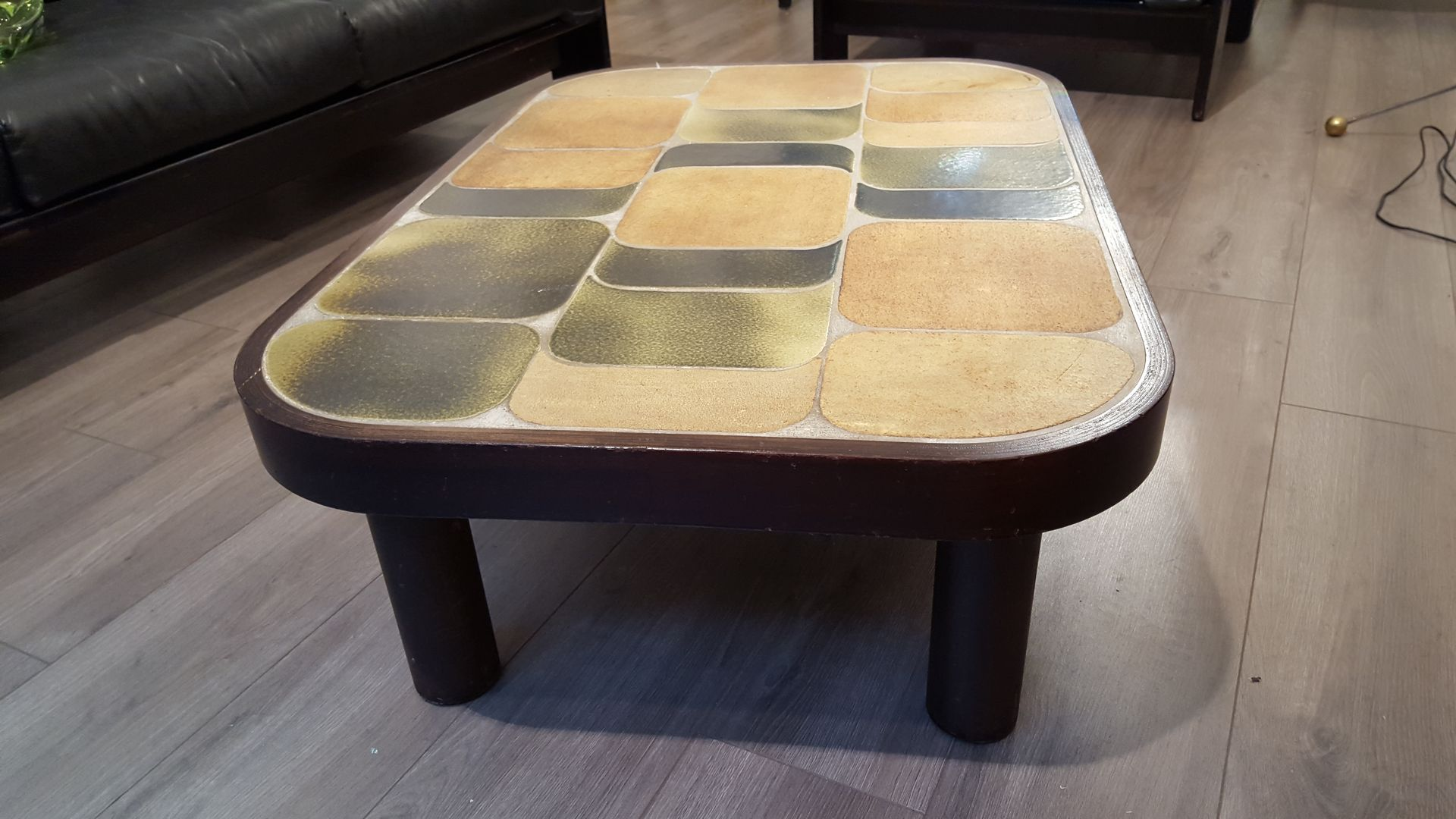 Table basse avec dessus en c ramique par roger capron en vente sur pamono - Table salon dessus ceramique ...
