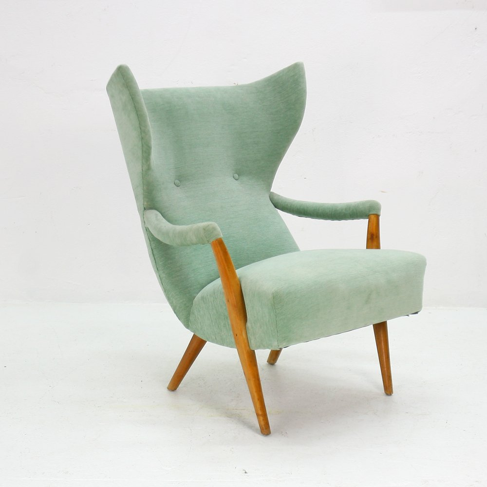 mint green wingback chair 1950s for sale at pamono. Black Bedroom Furniture Sets. Home Design Ideas