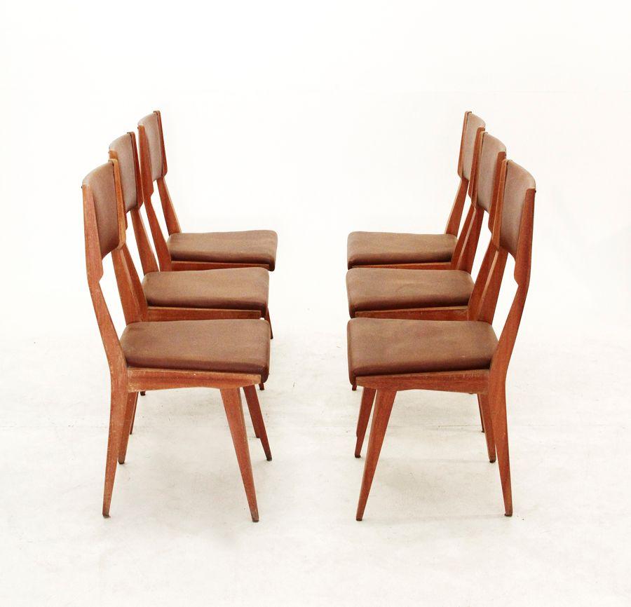 esszimmerst hle italien 1950er 6er set bei pamono kaufen. Black Bedroom Furniture Sets. Home Design Ideas