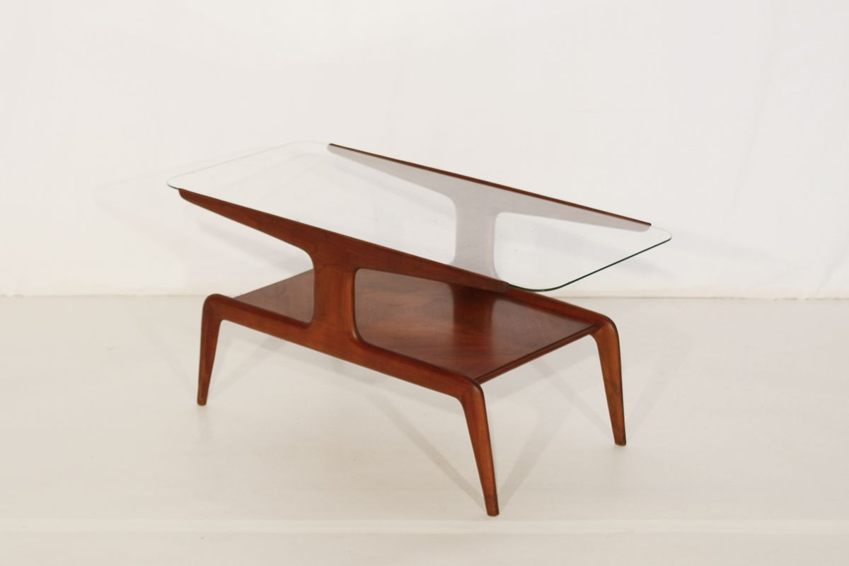 Vintage wood and glass coffee table for sale at pamono for Glass coffee table with wood