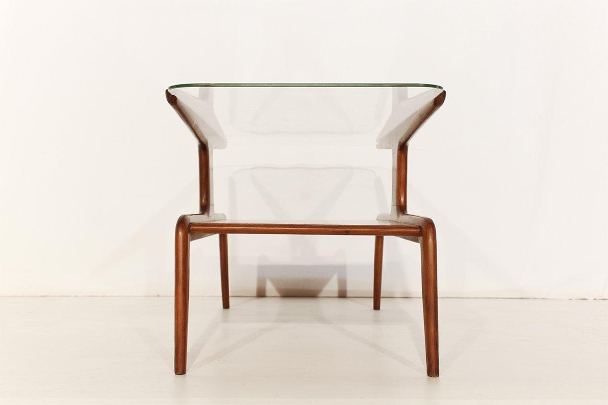 Couchtisch Holz Mit Glasplatte ~ Vintage Couchtisch aus Holz mit Glasplatte bei Pamono kaufen