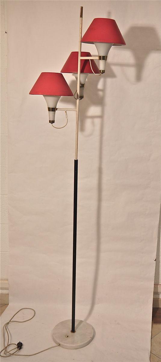italienische vintage stehlampe mit rotem lampenschirm bei pamono kaufen. Black Bedroom Furniture Sets. Home Design Ideas