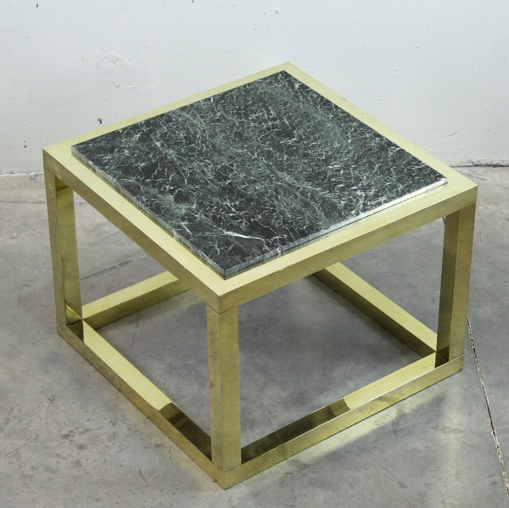 Vintage Spanish Brass And Green Veined Marble Coffee Table